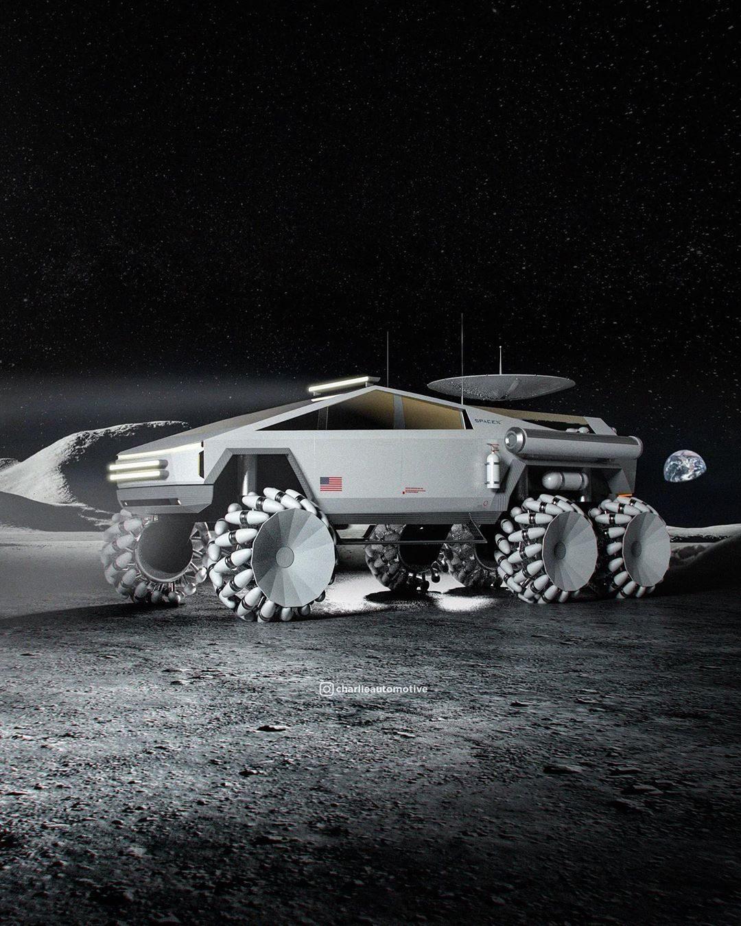 看这渲染图化身月球车的特斯拉电动皮卡怎么样?