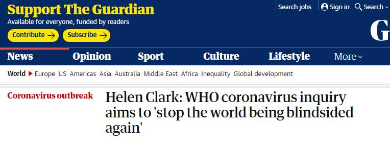 """新西兰前总理被任命调查全球疫情应对工作:旨在防止世界再次被危机""""突袭"""""""