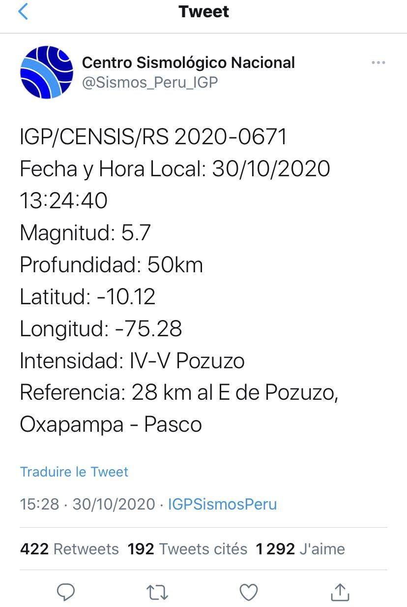 秘鲁中部发生5.7级地震 暂无人员伤亡讲述
