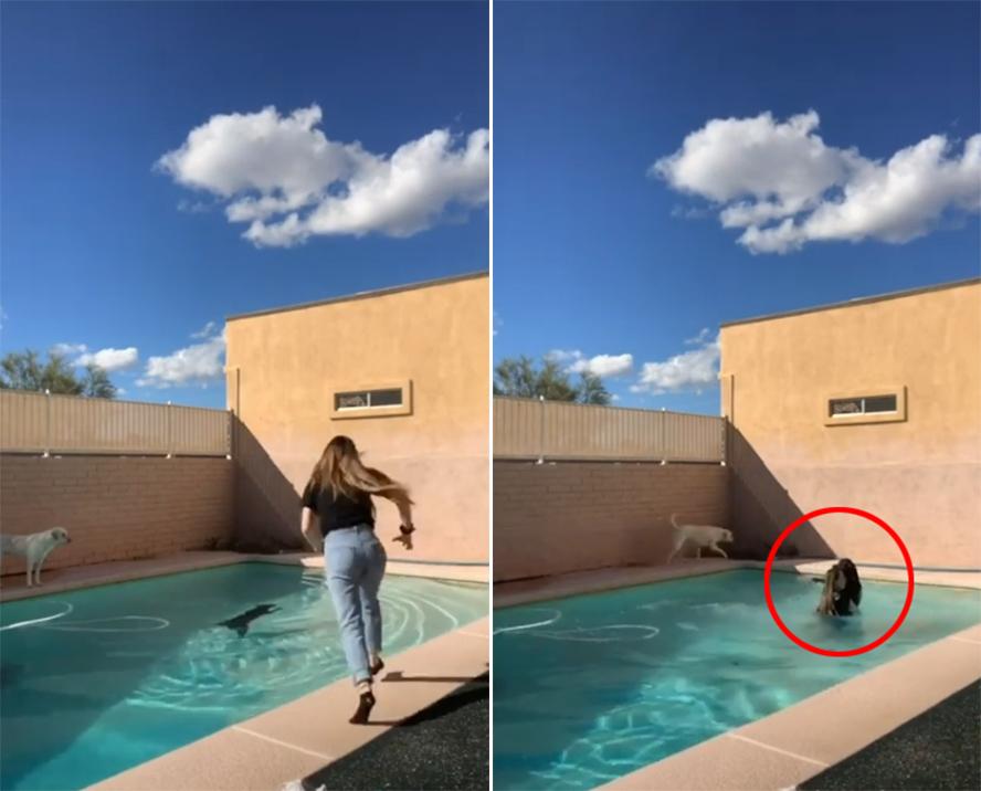 美国女孩录跳舞视频时发现身后狗狗落水立即下水救狗获赞