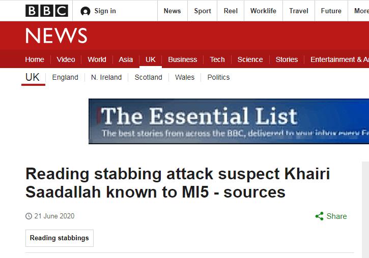 消息人士:英国雷丁恐袭案嫌犯来自利比亚,2019年就曾引起军情五处注意