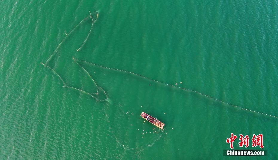 中国最大内陆淡水湖迎来开湖季 巨网捕鱼场面壮观[组图]