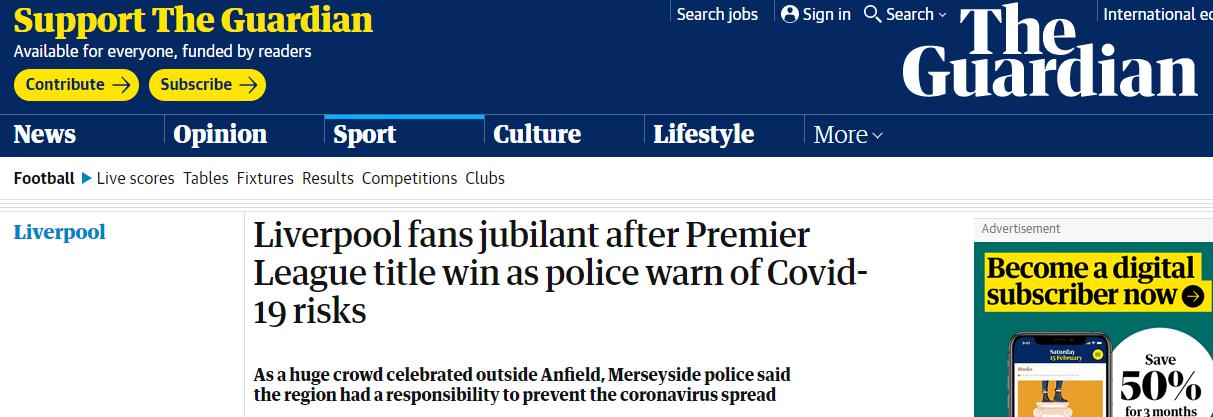 平心在线:数千名球迷陌头庆祝利物浦英超夺冠,当地警方发出疫情忠告 第2张