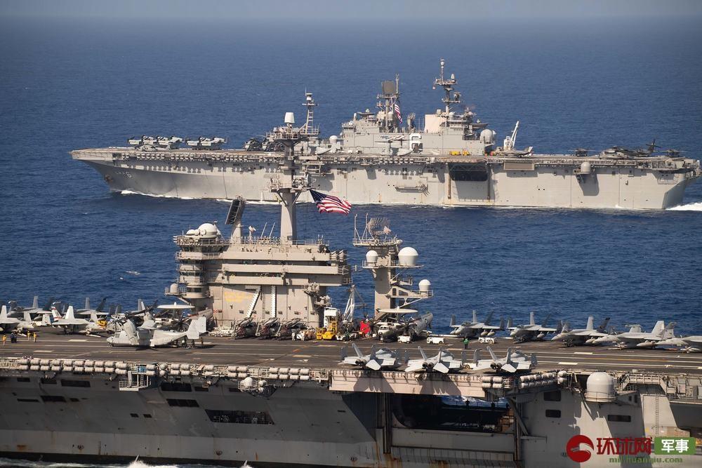 """兩艘巨艦海上集結,美軍新航母抵達西太,結束""""空窗期"""""""