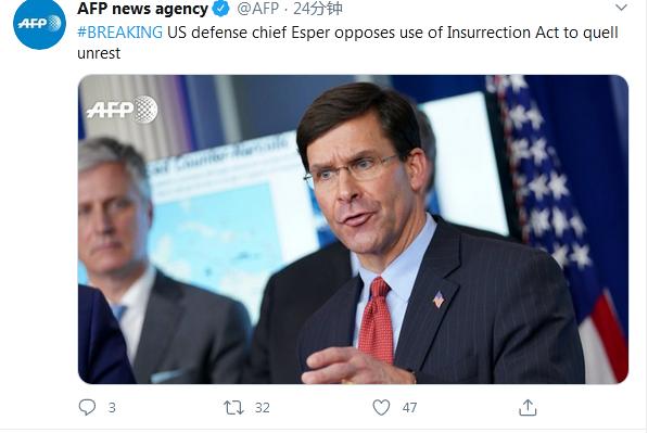 外媒:美国防长埃斯珀反对动用叛乱法案制止骚乱