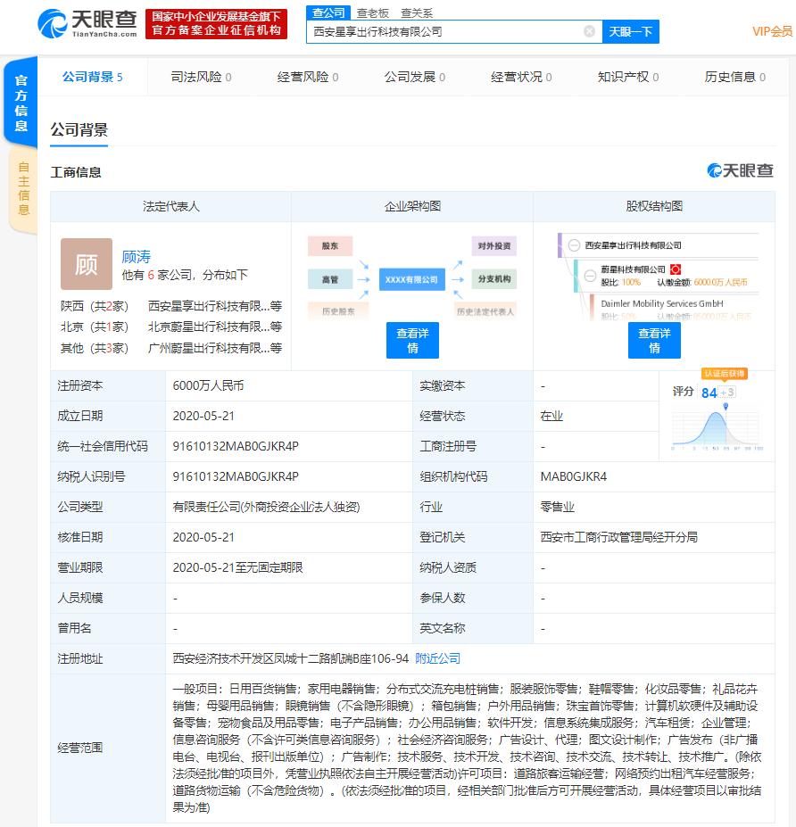 """吉利与戴姆勒合资品牌""""耀出行""""在西安成立新公司,注册资本6000万人民币"""
