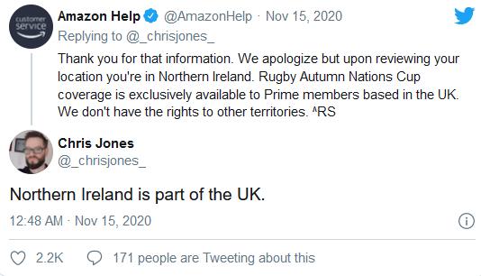 """北爱尔兰不是英国的一部分?亚马逊为""""错误言论""""道歉"""