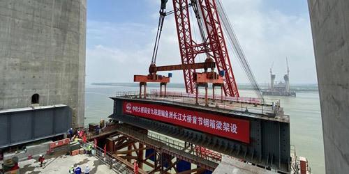 全国首座设计时速350米之珠江铁路桥开始架梁